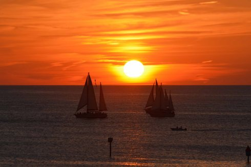 sailboats & sunset