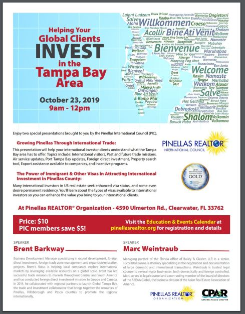 Oct 23, 2019 Helping your clients invest in the Tampa Bay
